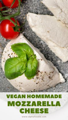 A simple stretchy, gooey and delicious vegan mozzarella recipe. Perfect for pizzas, pasta dishes, salads and more. With all the stretch and flavour of dairy-based mozzarella, but completely dairy-free. Vegan Cheese Recipes, Vegan Foods, Vegan Snacks, Vegan Dishes, Dairy Free Recipes, Raw Food Recipes, Veggie Recipes, Vegetarian Recipes, Cooking Recipes