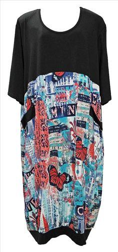 Akh Fashion Lagenlook Layering langes Damen Kleid in schwarz-blau XXL Mode bei www.modeolymp.lafeo.de
