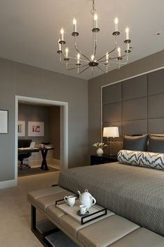 Bedroom Design: Modern Chic Master Bedroom with a home office with. Chic Master Bedroom, Master Bedroom Design, Home Decor Bedroom, Bedroom Furniture, Master Suite, Bedroom Office, Bedroom Interiors, Taupe Bedroom, Parisian Bedroom