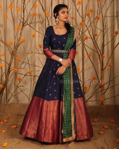 Stunning blue color floor length anarkali dres with big pattu boarder. Ananrkali dress with sleeves and waist belt. Half Saree Lehenga, Saree Gown, Anarkali Dress, Anarkali Suits, Lehenga Choli Designs, Salwar Designs, Saree Blouse Designs, Dress Designs, Frock Models