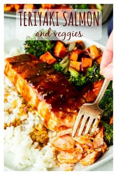 Sheet Pan Teriyaki Salmon is an easy complete dinner recipe made with a simple from-scratch teriyaki sauce, broccoli, and sweet potatoes. It's a perfect recipe for busy weeknights as well as an impressive meal for entertaining. Grilled Teriyaki Salmon, Teriyaki Glazed Salmon, Baked Salmon, Teriyaki Sauce, Salmon And Sweet Potato, Crispy Sweet Potato, Sweet Potato Recipes, Easy Salmon Recipes, Seafood Recipes