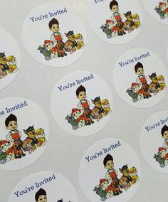 Paw Patrol Thank You You're Invited Round by LabelsandStickers