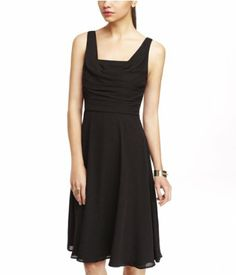 $80 RUCHED FIT AND FLARE DRESS   Express black