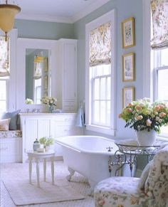 Shabby chic bathroom. Like little table by tub