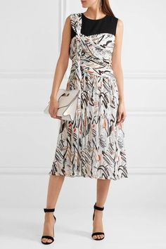 Adeam - Draped Printed Plissé-crepe Dress - Off-white - US10