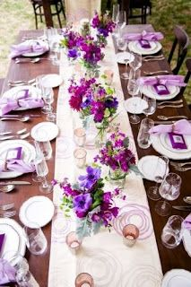 33 Lavender Wedding Decor Ideas You Will Love Purple Wedding Tables, Purple Wedding Decorations, Reception Table Decorations, Wedding Reception Centerpieces, Wedding Table Settings, Wedding Flowers, Burgundy Wedding, Reception Ideas, Wedding Bride