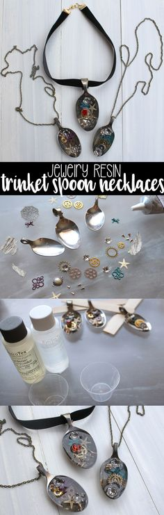 Make a stunning necklace that looks like a spoonful of trinkets in water--using Jewelry Resin! Fill with seashells filigree beads and more! Spoon Necklace, Spoon Jewelry, Resin Necklace, Diy Necklace, Resin Jewelry, Diy Jewelry, Jewelry Making, Resin Ring, Necklaces