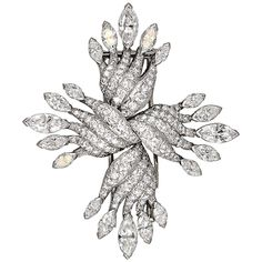 View this item and discover similar for sale at - Chic diamond and platinum brooch by Tiffany & Co. It features very high grade round brilliant cut and marquise cut diamonds, approx. Antique Brooches, Antique Jewelry, Vintage Jewelry, Marquise Cut Diamond, Diamond Cuts, Heart Jewelry, Fine Jewelry, Jewellery, Maltese Cross