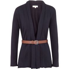 Michael Michael Kors Belted cotton cardigan (250 BRL) ❤ liked on Polyvore featuring tops, cardigans, jackets, sweaters, outerwear, blue leather belt, navy blue leather belt, cotton cardigan, navy cardigan and long sleeve cardigan