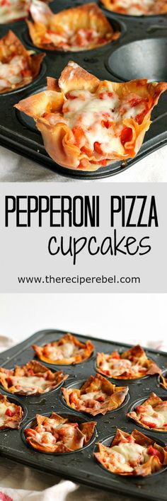 Pepperoni Pizza Cupcakes - pepperoni, cheese, and pizza sauce baked inside of crisp wonton wrappers: the ultimate handheld pizza! Only 4 main ingredients and 20 minutes! Perfect as an appetizer or a quick lunch : thereciperebel Pizza Cupcakes, Wonton Recipes, Appetizer Recipes, Pizza Recipes, Wanton Wrapper Recipes, Wonton Wrappers, Street Food, Finger Foods, Love Food