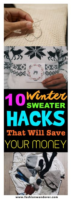 These top 10 genius sweater hacks for fixing and proper way to store at home are THE BEST! I'm so glad to find these AWESOME tips not only they really works but also you can save money and no need to throw away favorite winter sweater! Perfect Winter outfit tips! Definitely pinning!  #winterfashion #winterstyle #sweaterweather #hacks