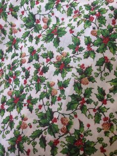 A personal favorite from my Etsy shop https://www.etsy.com/listing/244967930/vintage-christmas-holly-berry-fabric