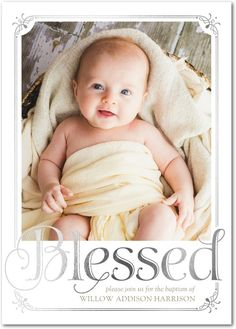 Boldly Blessed: Girl - Foil Baptism Invitations in White or Blush | Sarah Hawkins Designs