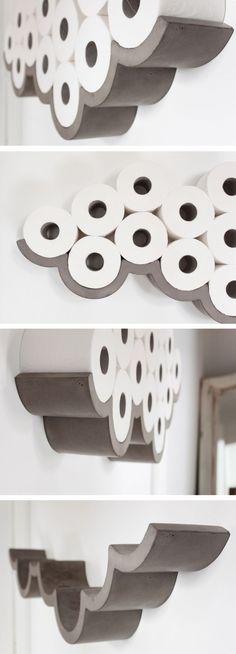 Concrete cloud shaped toilet paper holder. Like a cloud!