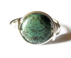 Boho Jewelry   Green Turquoise Ring Wire Wrapped by DistortedEarth, $12.00