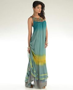 ombre teal green maxi dress