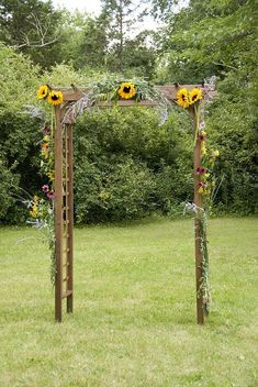 BBQ Wedding Arbor - decorated with flowers from my Mom's gardens.