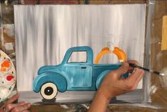 How To Paint A Vintage Pumpkin Truck - Step By Step Painting Pumpkin Canvas Painting, Autumn Painting, Car Painting, Tole Painting, Painting On Wood, Canvas Paintings, Fall Paintings, Christmas Paintings, Autumn Art