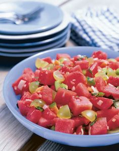 Watermelon Salad with Feta or Cotija | Recipes: Vegetarian | Pinterest ...