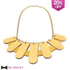 Gold necklace made of wooden tongue depressors.