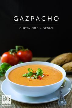 Creamy Gazpacho Recipe  2½ cups tomato juice, divided 2 Tbsp cider vinegar ½ cup extra virgin olive oil, divided 4 medium tomatoes 2 cucumbers 2 red peppers 2 tsp salt 1 small sweet onion, chopped 2-3 sprigs fresh cilantro 2-3 sprigs parsley 2-3 garlic cloves