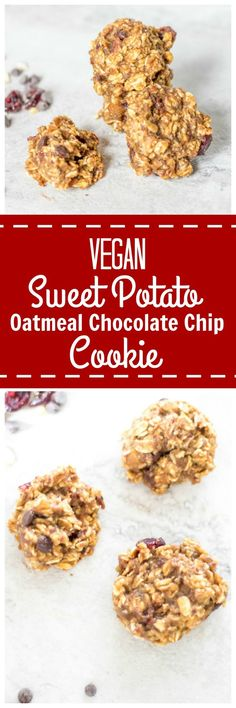 Vegan Sweet Potato Chocolate Chip Oatmeal Cookies: Wholesome ingredients come together simply to create a decadent tasting cookie that guilt-free. Vegan. Naturally-Sweetened. Gluten-Free.
