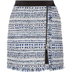 Karl Lagerfeld Satin-trimmed fringed metallic tweed mini skirt (422.705 COP) ❤ liked on Polyvore featuring skirts, mini skirts, bottoms, karl lagerfeld, fringe skirt, short skirts, tweed skirt and colorful skirts