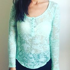 FREE PEOPLE INTIMATES Turquoise top can be layered or worn with a cute bra. Size small, new! NO TRADES OFFERS WELCOME  Free People Tops Tees - Long Sleeve