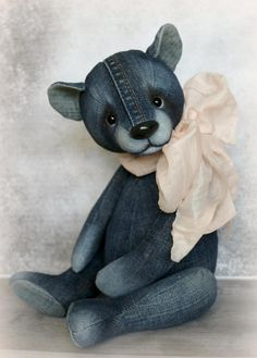 Denim teddy by Furry Happiness on Tedsby Sewed from jeans. Filler sawdust and mineral granulate. Toned with artistic oil paints. Only he sits. Stands with support. Diy Teddy Bear, Large Teddy Bear, Knitted Teddy Bear, Cute Teddy Bears, Crochet Bear, Crochet Dolls, Amigurumi Animals, Teddy Bear Sewing Pattern, Teddy Bear Patterns