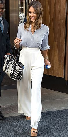 hight waisted wide leg trousers and wedges