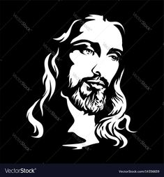 The face of jesus christ Royalty Free Vector Image Jesus Drawings, Dark Drawings, Spiritual Paintings, Pictures Of Jesus Christ, Jesus Painting, Jesus Face, 3d Laser, Scroll Saw Patterns, Silhouette Art