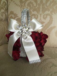 CUSTOM flower girl basket  burgundy wedding by TheCrystalFlower