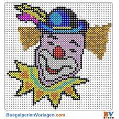 Clown Bügelperlen Vorlage - Perler pattern