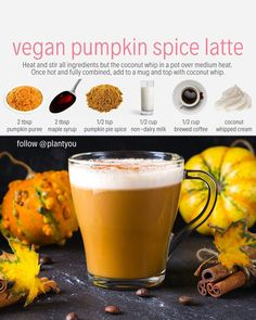 How do you feel about Here's an absolutely delicious vegan pumpkin spice latte reci Pumpkin Spiced Latte Recipe, Vegan Pumpkin, Pumpkin Spice Latte, Vegan Recipes Plant Based, Vegan Recipes Easy, Vegan Milk, Vegan Meal Prep, Vegan Dishes, Smoothie Recipes