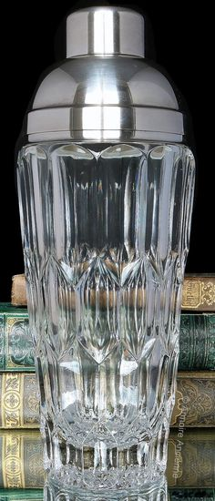 Art Deco Crystal Cocktail Shaker, Silver Plate Mounting