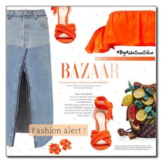"""""""Orange & Jeans"""" by aidasusisilva ❤ liked on Polyvore featuring RE/DONE, Jamin Puech, Nicholas Kirkwood and Kenneth Jay Lane"""