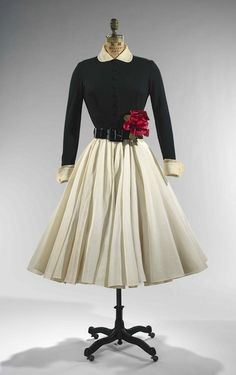 Norman Norell 1951 or so.  SQUEEEEE!   Love this dress with that pop of color.  Audrey Hepburn!