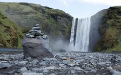 Skógafoss is one of the largest. Some say there's treasure hidden behind it.
