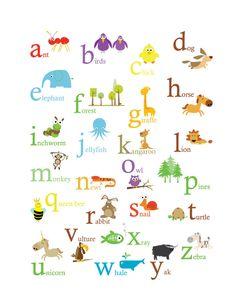 Alphabet Poster -Primary Colors. $22.00, via Etsy.