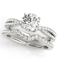 Round Diamond Engagement Ring & Band Bridal Set 14k White Gold 1.32ct - Allurez.com
