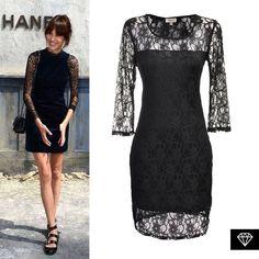 Logra este sofisticado look de Alexa Chung, con nuestro vestido de encaje negro. Encuéntralo en puntos de venta Liverpool.