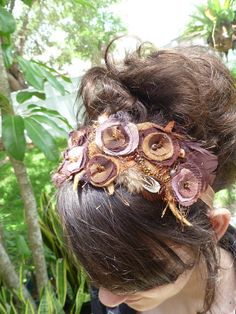Breathtaking! Something brown unique wearable fiber art floral by Cesart64, $56.00 headband