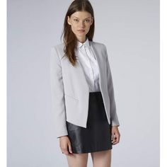 Grey Open Front Blazer - Structured and streamlined with a luxe minimalist edge - this blazer is the perfect wardrobe investment. Keep the rest of the ensemble neutral. #fashion #women #blazer