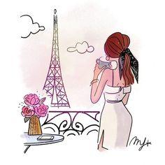 Illustration Parisienne, Illustration Mignonne, Paris Illustration, Photo Illustration, Girl Illustrations, I Love Paris, Edible Art, Sophisticated Style, Girl Boss