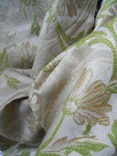 Soie Ancienne époque Art Nouveau, Floral Décor Et Guirlande De Perles, Rose Couleur, Proantic