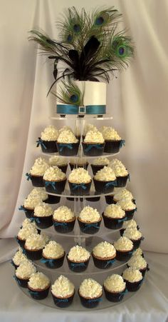 Peacock cupcake wedding tower