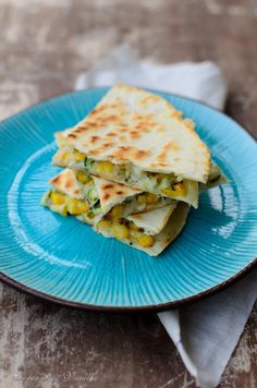 Quesadillas mit Zucchini und frischem Mais