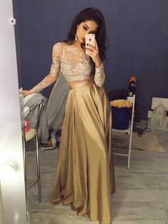 A-line prom dresses,Two Pieces Gold Scoop Lace Floor