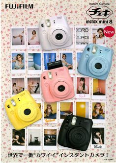 Fujifilm Instax Mini 8 camera - I want one of these babes! Fuji Instax Mini 8, Instax Mini 8 Camera, Fujifilm Instax Mini 7s, Instax Mini Film, Polaroid Camera, Instax Printer, Gadget, Toy Camera, Film Camera