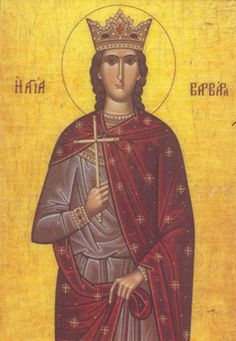 Saint Barbara, from a traditional Greek Orthodox icon.